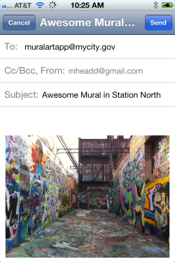 Crowdsourcing art locations with e-mail apps